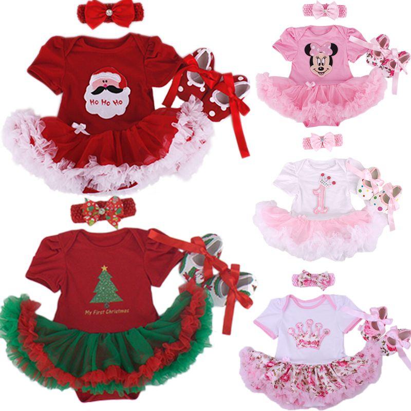 Noël bébé fille infantile 3 pièces vêtements ensembles costume princesse Tutu barboteuse robe/combinaison noël Bebe fête anniversaire Costumes Vestido