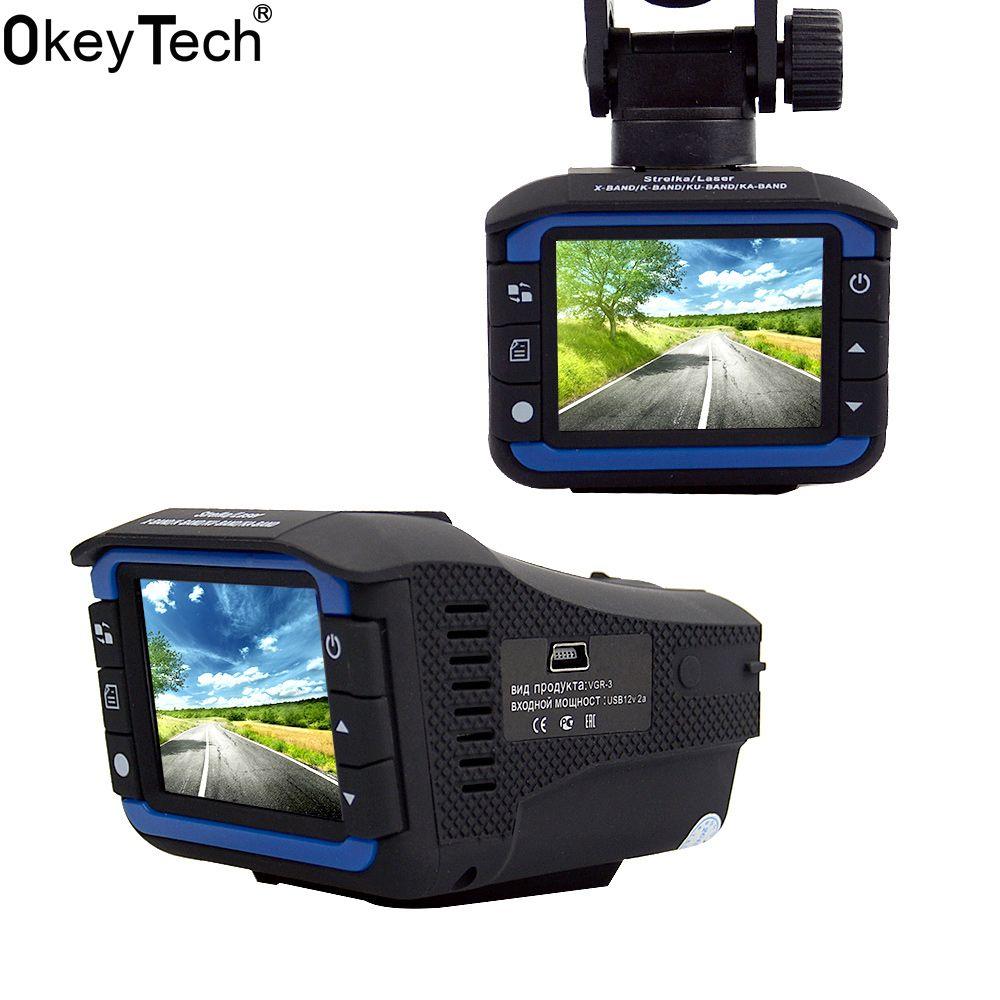 OkeyTech 3 In 1 Car Radar Detector GPS Tracker DVR Alarm System Warning Device 2.0 Inch Display 140 Degree Lens Russian Version