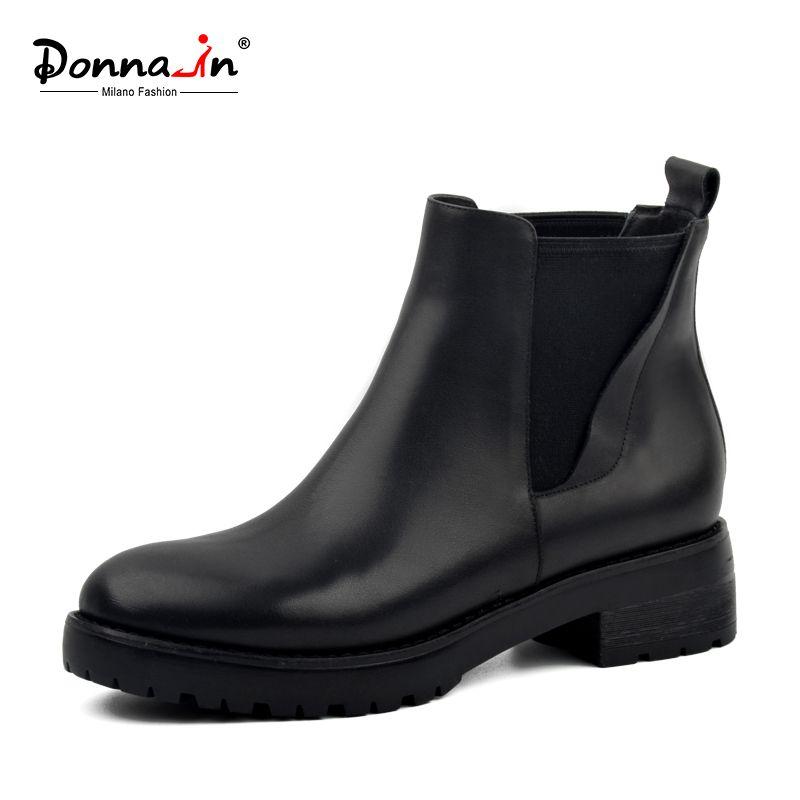 Donna-в женские зимние ботинки натуральная кожа Челси Женские ботинки натуральная шерсть с мехом внутри обувь толстая подошва на низком каблу...