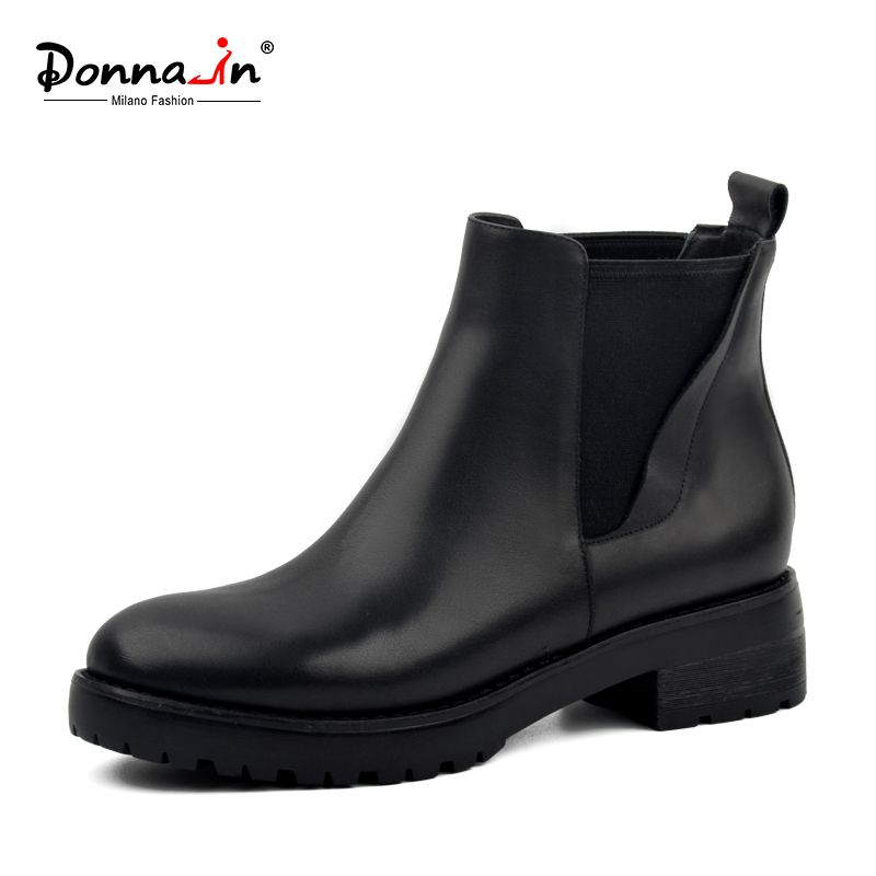 Donna-in Winter Boots Women Genuine Leather Natural Fur Snow Boots Women Waterproof Black Platform Block Heel Shoes for Ladies