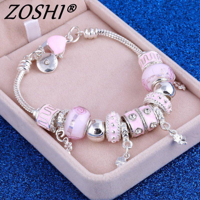 ZOSHI Pink Crystal Charm Silver Bracelets & Bangles for Women With Aliexpress Murano Beads Silver Bracelet Femme Love Jewelry