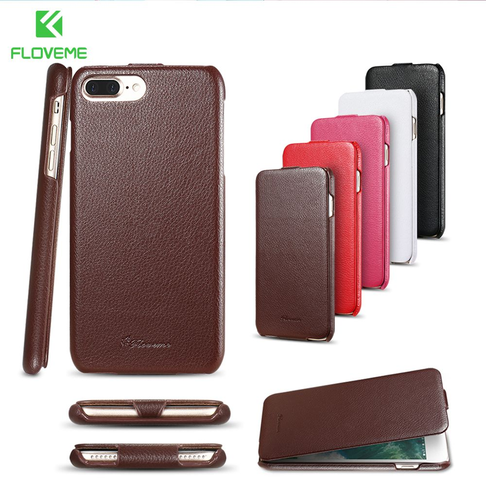 Étui pour iPhone 7 7plus en cuir véritable FLOVEME coque de téléphone à rabat motif Litchi pour iPhone 7 8 8plus