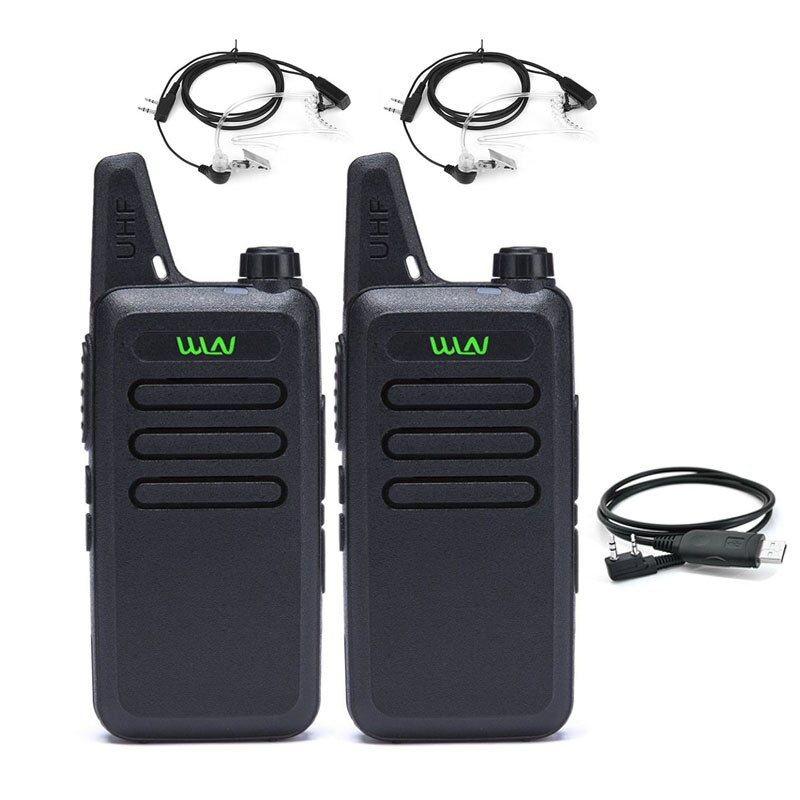 2Pcs WLN KD-C1 Mini Walkie Talkie UHF 400-470MHz 16CH Handheld Radios Communicator Two Way Radio Mini Radio with cable headset