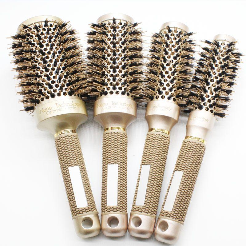 Nano ionique poils de sanglier brosse à cheveux Salon peigne baril coup sec cheveux brosse ronde en 4 tailles professionnel Salon outils de coiffure