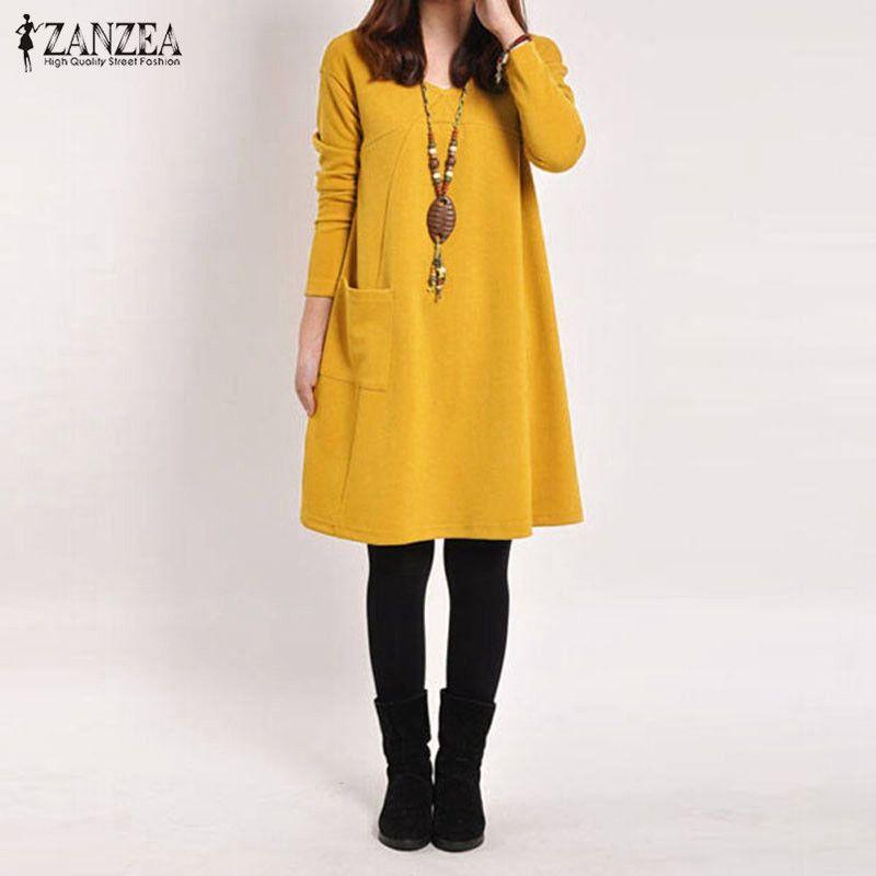 ZANZEA 2019 automne femmes robe décontracté lâche solide poches femme à manches longues col en V robes Vestidos Femininas grande taille