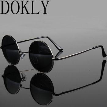 Dokly Новая мода шоу стиль очки настоящие поляризованные солнцезащитные очки Винтажные Солнцезащитные очки круглые солнцезащитные очки UV400 ч...
