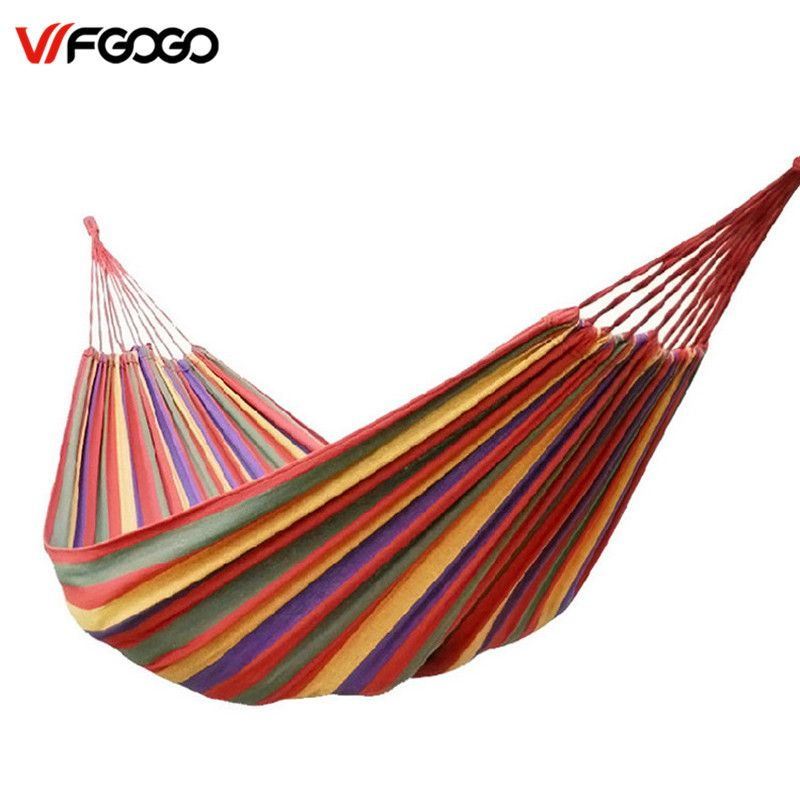 WFGOGO Big-Size Hammock Portable Camping Garden Beach Travel Hammock Outdoor Ultralight Colorful Cotton Polyester Swing Bed