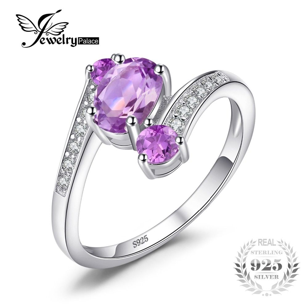 JewelryPalace Pure 925 Sterling Silver 0.9ct Natural Amethyst 3 Stone Anniversary <font><b>Ring</b></font> Oval Fashion Engagement Jewelry For Women