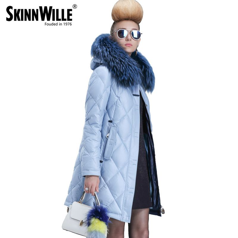 SKINNWILLE 2017 winter collection White duck down even the chinstrap collars Female in long Upset down jacket