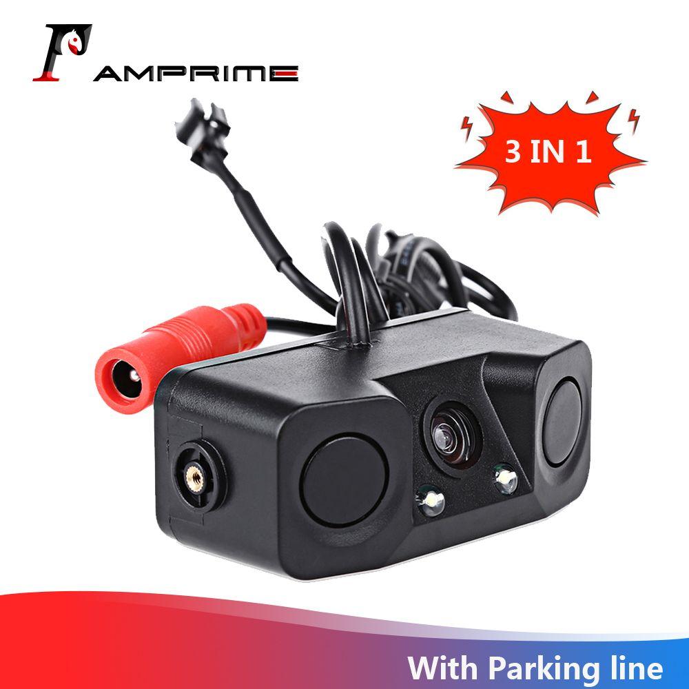 AMPrime 3 en 1 capteur de stationnement vidéo étanche caméra de recul de voiture avec 2 capteurs de détecteur de Radar alarme BiBi