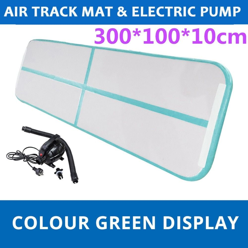 Gofun 118x35x4inch Gym Air Track Floor Pad Home Gymnastics Tumbling Inflatable Rolling Mat With Air pump Mint Green