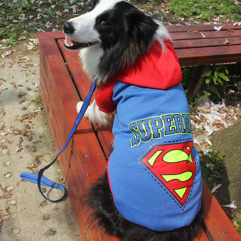 Superman Dog Clothes Cool Clothing for Big Dogs Hoodies Large Size Coat Costume Pets Apparel Cotton Sportswear 3XL- 9XL CW003