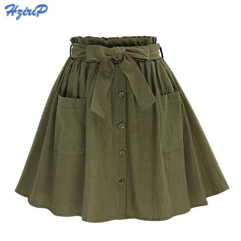 2017 Women's Skirts Vintage High Waist Pocket Solid Bow Belt Midi Skirt New Arrival Summer Europe <font><b>Army</b></font> Green Girls Skirt Faldas