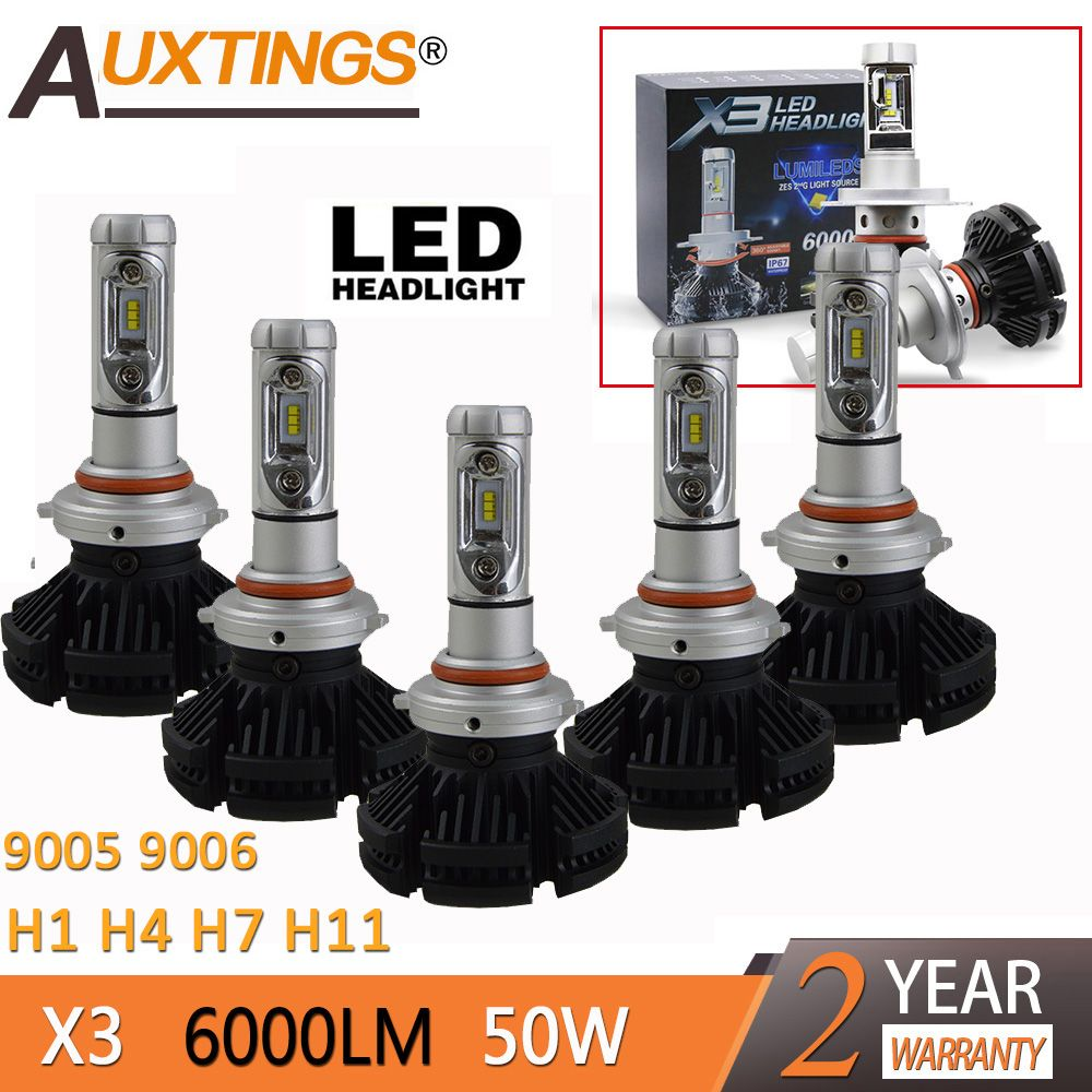 2pcs X3 led headlight 50W 6000LM H4 H7 LED Car Headlight 3000K/6500K/8000K ZES Chip H1 H11 9005 H4 9006 H7 LED fog Lamp Auto