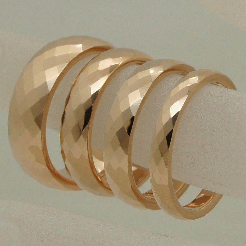 5mm largeur rare femmes/fille plaqué or rose multi facette anneau de tungstène taille 5-anneau taille 9