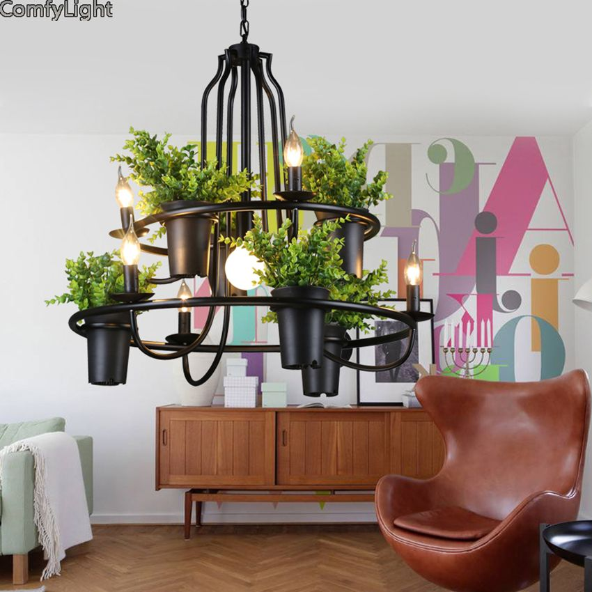 ECO Creative Modern Potted Plant Pendant Light layering Babylon Hanging Lamp suspension luminaire Home Lighting Fixtures Lustres