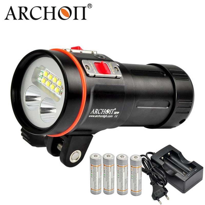ARCHON W43VP D37VP Tauchen Video Licht Rot UV Taschenlampe Taschenlampe XM-L2 LED Max 5200 Lumen Unterwasser Fotografie laterne 18650