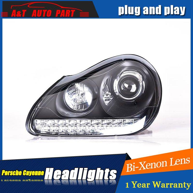 Auto Styling LED Kopf Lampe für Porsche Cayenne scheinwerfer für Cayenne 2004-2007 LED winkel augen drl H7 hid bi-Xenon-Objektiv abblendlicht