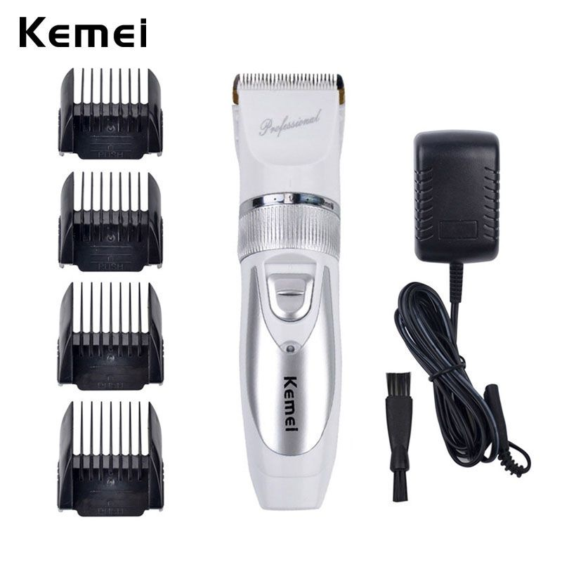 110V-220V Include <font><b>Battery</b></font> Titanium Blade Kemei Professional Hair Trimmer Electric Hair Clipper Cutting Machine Shearer -S5859