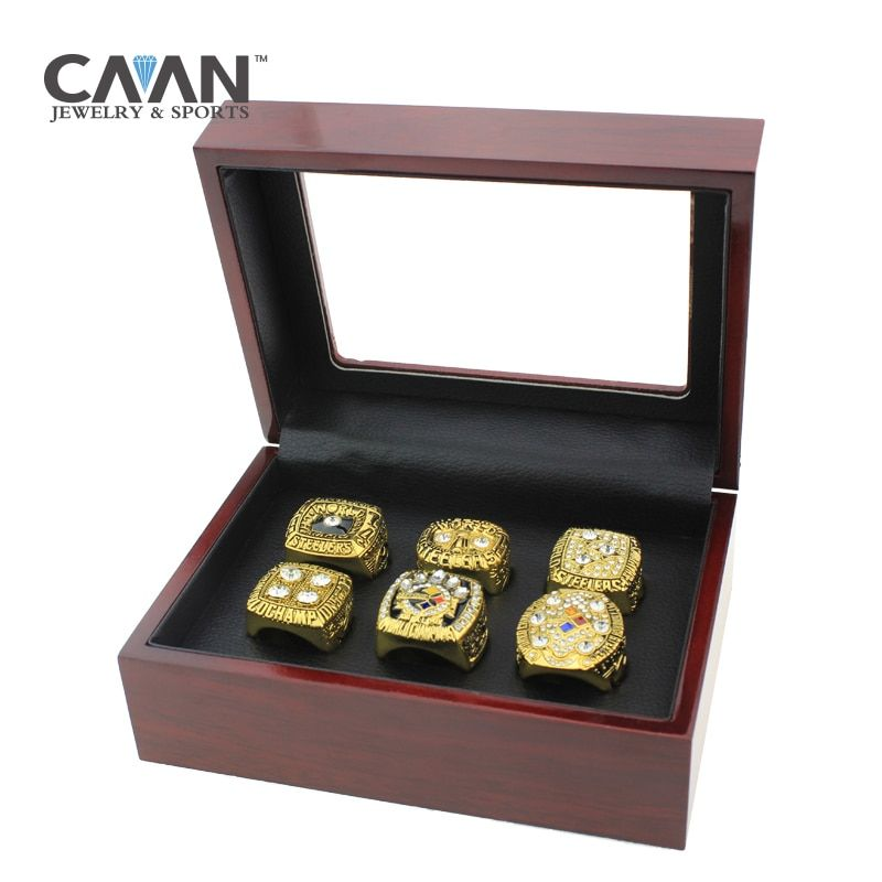 6 pcs/set Super Bowl 1974 1975 1978 1979 2005 2008 Pittsburgh Steelers replica Championship Ring set With Box for Fans Gift