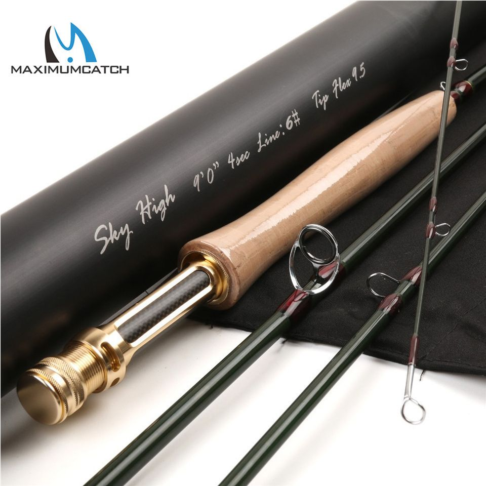 Maximumcatch Skyhigh Fly Rod IM12 Toray Carbon Super Light Fast Action Fly Fishing Rod with Carbon Tube 2-8WT 6-10FT 3-4Sec