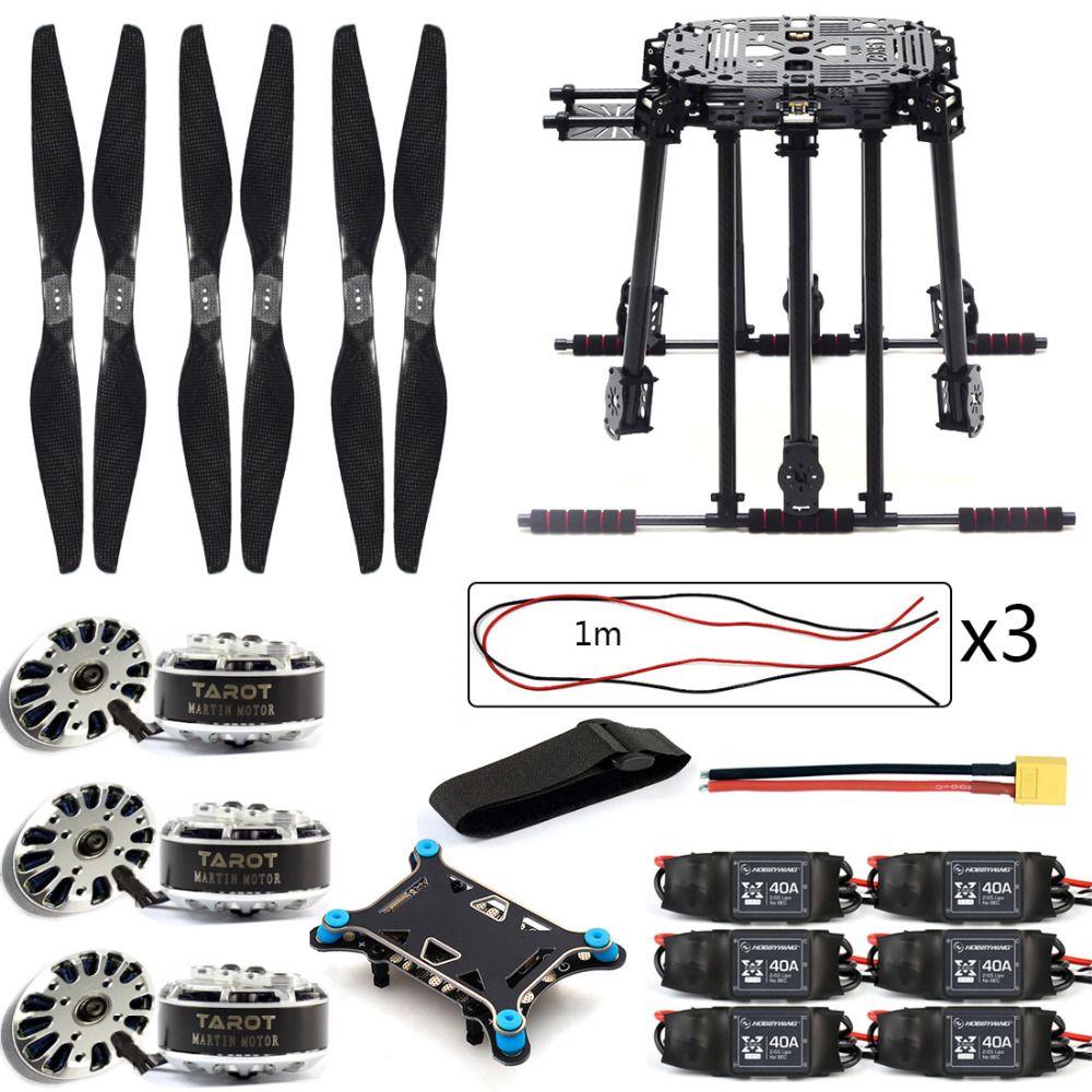 DIY ZD850 Frame Kit with Landing Gear 40A ESC 1555 Props Shock Absorber FPV 6 Axle Drone F19833-B