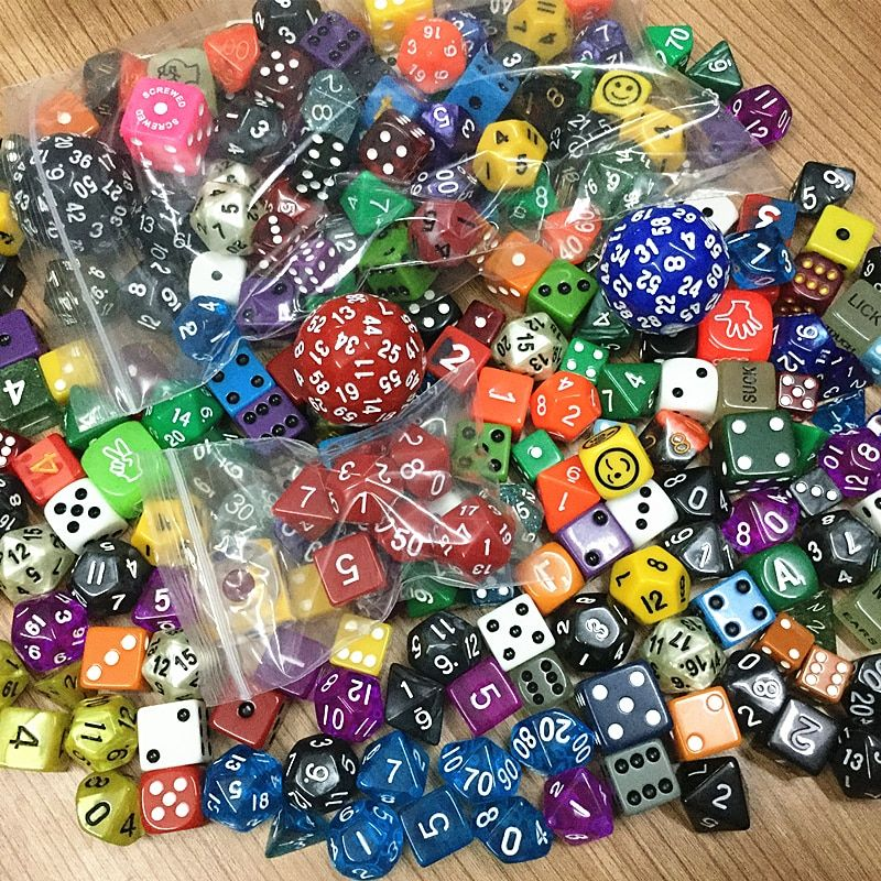 high quality colourful casino polyhedral Dice Set, mixing random colours styles sizes 100pcs plastic Dice