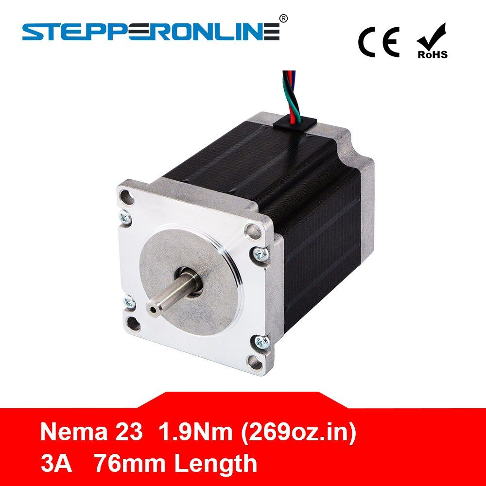 Free ship ! 1PC Nema 23 Stepper Motor 57 Motor 1.9Nm(269oz.in) 3A 76mm Nema23 Step Motor 4-lead for CNC Milling Machine
