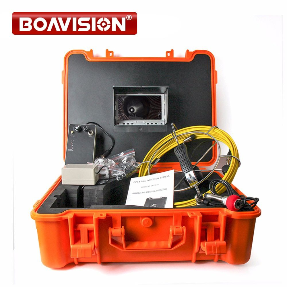 40m Fiber Glass Cable Waterproof Industrial Sewer Pipe Inspection Underwater Camera 12Pcs Leds with 7