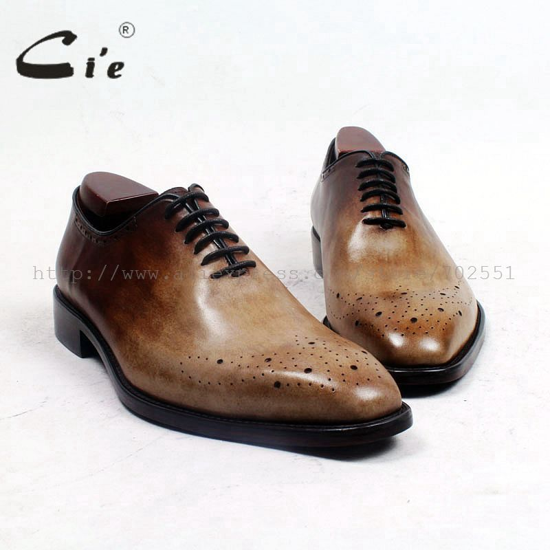 cie Square Toe Bespoke Custom Handmade Genuine Calf Leather Plain Toe Oxfords Color Patina Brown Lace-Up Dress Business OX511