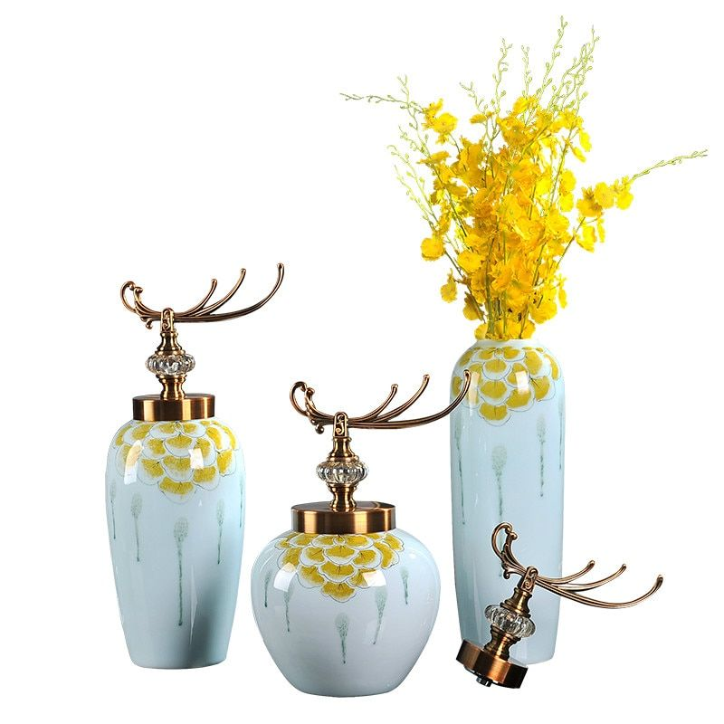 American New House Modern Dining Room Decoration Jingdezhen Ceramic Tabletop Big Flower Vases With Lid