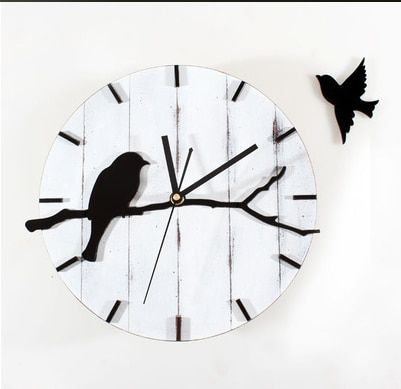 021291 Restore ancient ways do old rural lovely birds sitting room metope wood wall clock mute decorative wall clock
