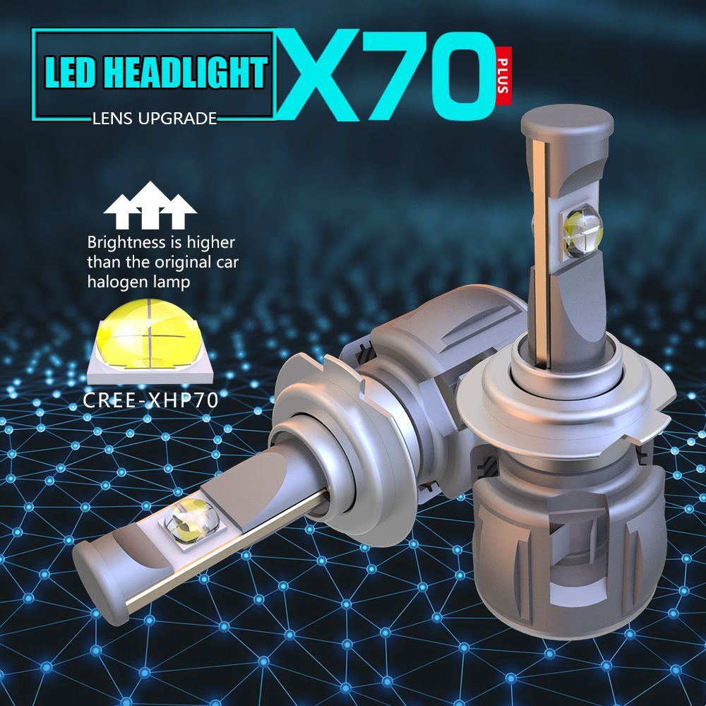 1 Set H7 60W 7800LM XHP-70 LENS Chips X70 LED Headlight H4 H8 H9 H11 9005 9006 9012 HB3 D1S/D2S/D3S/D4S White 6000K 120W 15600lm