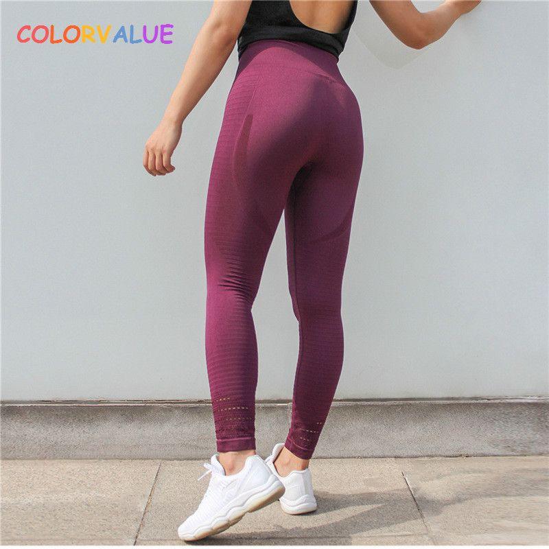 Colorvalue Super extensible sans couture Sport Fitness Leggings femmes contrôle du ventre Gym pantalons d'entraînement évider Nylon collants athlétiques