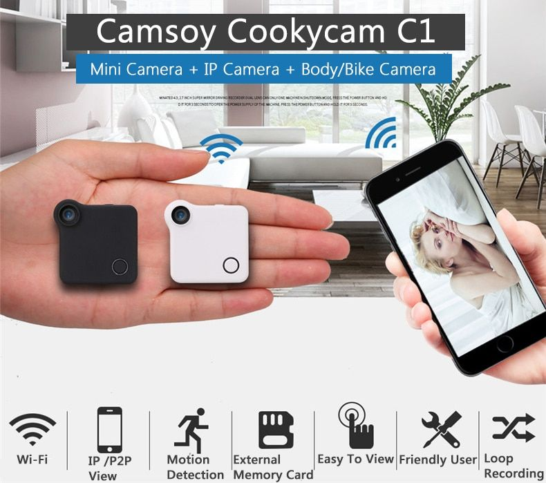 C1 Mini Web Camera WIFI P2P IP DV Video Sound Recorder Multi Portable HD 720P H.264 Micro DVR Action Motion Detection Flexible