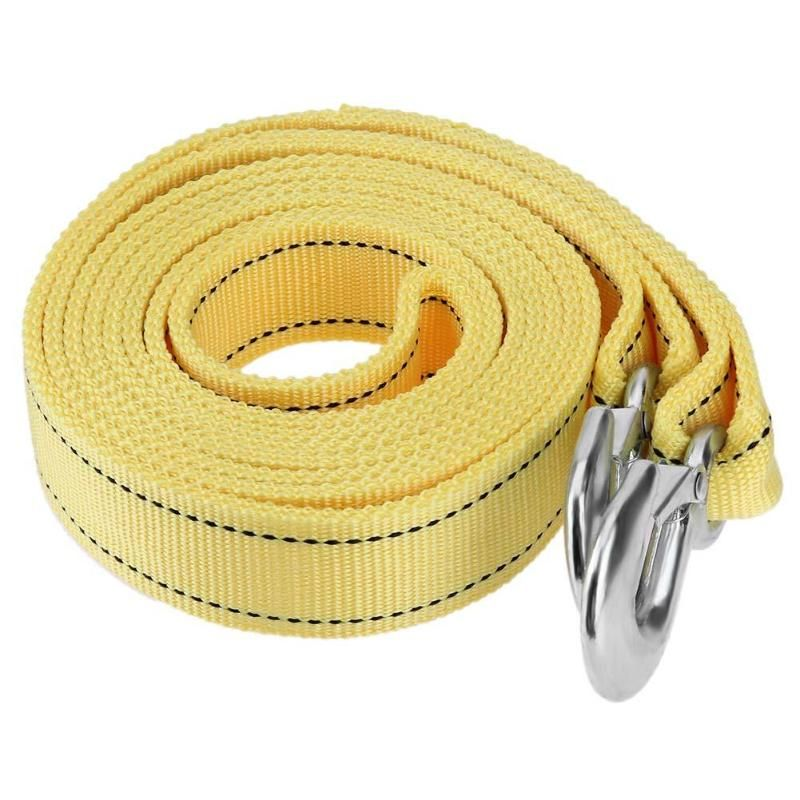 4m/13ft 5 Tons Car Van Tow Rope Heavy Duty Road Recovery Pull Towing Strap Reinforced Casting Winch with Hooks Auto Accessories