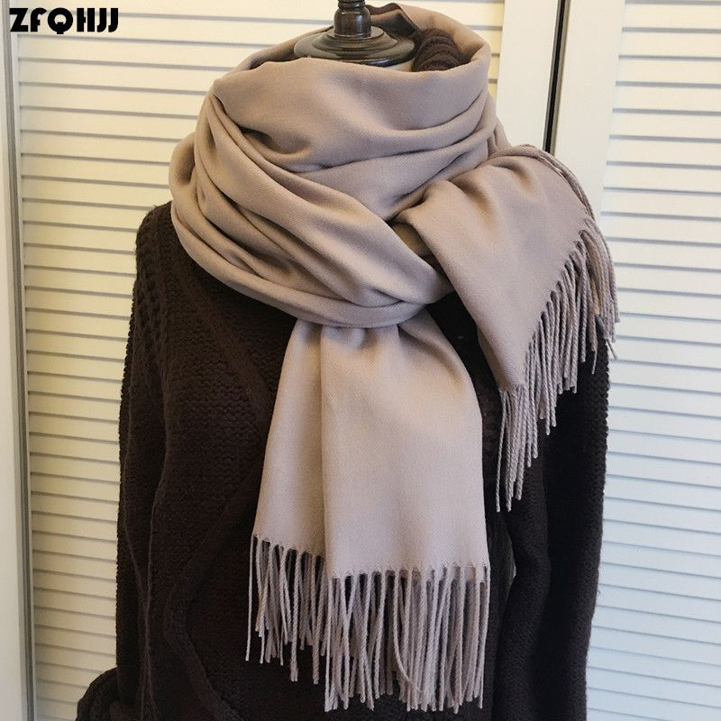 ZFQHJJ 200cmx70cm Winter Oversize Scarves Simple Fashion Warm Blanket Unisex Solid Wraps Cashmere Scarf Shawl Pashmina 20 colors