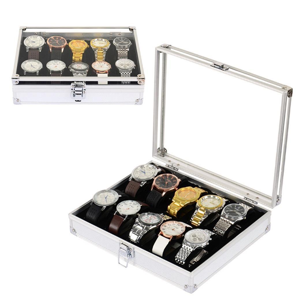 Полезные алюминиевые часы коробка 12 Сетки Слоты ювелирные часы дисплей Квадратные ящики случае замши внутри прямоугольные часы держатель