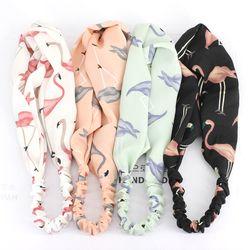 Frais Mode Turban Bandeaux Femmes Printemps Eté Mousseline de Soie Bandeau Head Wrap Large Flamingo Cheveux Accessoires Coton Bandeau