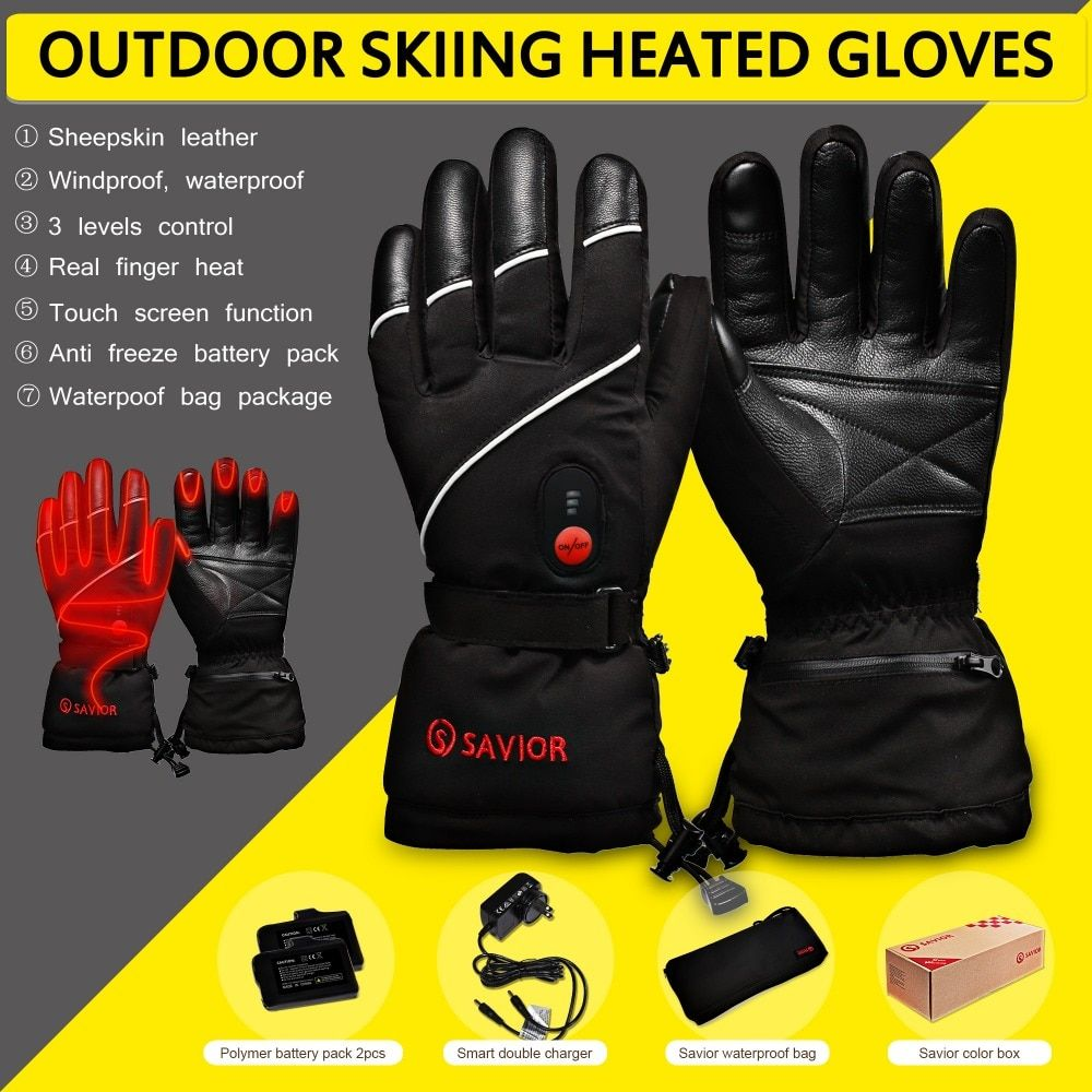 RETTER S-15 winter Elektrische Heizung Handschuhe Winter Skifahren, angeln, niedrigen temperatur leder handschuhe männer frauen