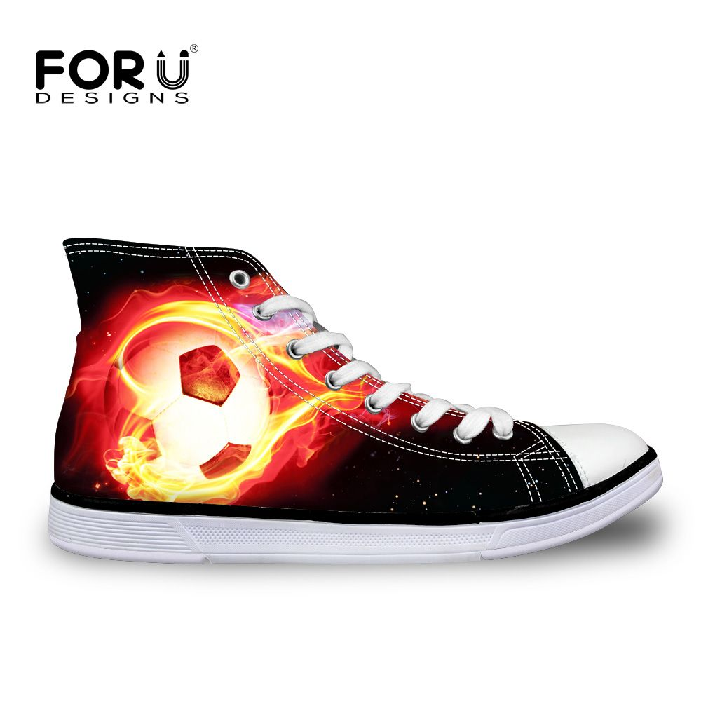 FORUDESIGNS 2018 Autumn Hot Men's High Top Canvas Shoes Cool Ball Printed Flats Shoes for Male Men Classic Vulcanize Shoes Man
