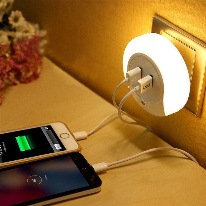 Hot! Smart Design Night Light LED avec capteur de lumière et double USB chargeur de plaque murale pour salle de bain chambres luz de la noche LN002