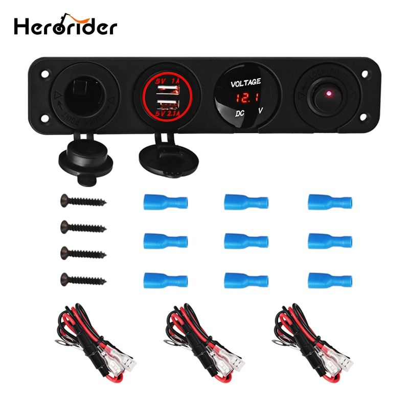 Herorider 4 Hole Panel Base Dual USB Voltmeter Meter Power Socket Cigarette Lighter Switch Car Truck Boat Accessory Switch Panel