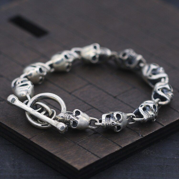 S925 Sterling Silver Bracelet & Bangle Skull and Slub OT Buckle Thai Silver Bracelet 10mm Men's Fashion Punk Style