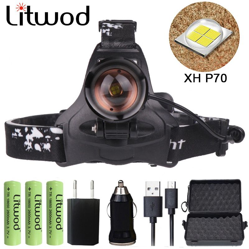 Z20 Litwod 2806 32W chip XHP70 Headlight 32000lum powerful Led headlamp zoom head lamp flashlight torch Lantern Head light