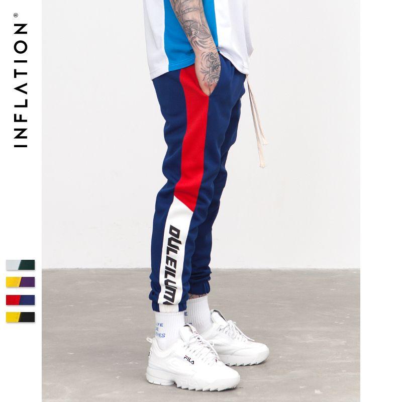 INFLATION 2018 New Autumn Mens Sweatswear Pants Printing Side Stripe Pockets Men Vintage Sweatpants 353W17