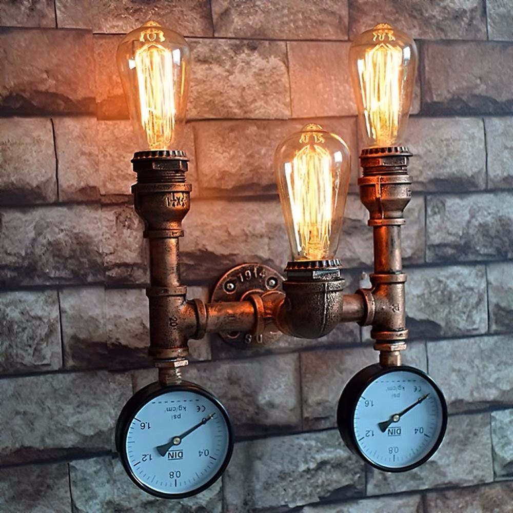 Simple Wrought Iron Water Pipe Wall Lamp Industrial Vintage Wall Lights Fixtures For Home Lighting Bedside Light Bar Cafe