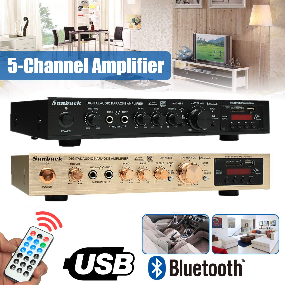 298B Bluetooth 2.0 Channel 2000W 5 Channel Audio Power Amplifier 220V AV Amp Speaker with Remote Control Support FM USB SD Card