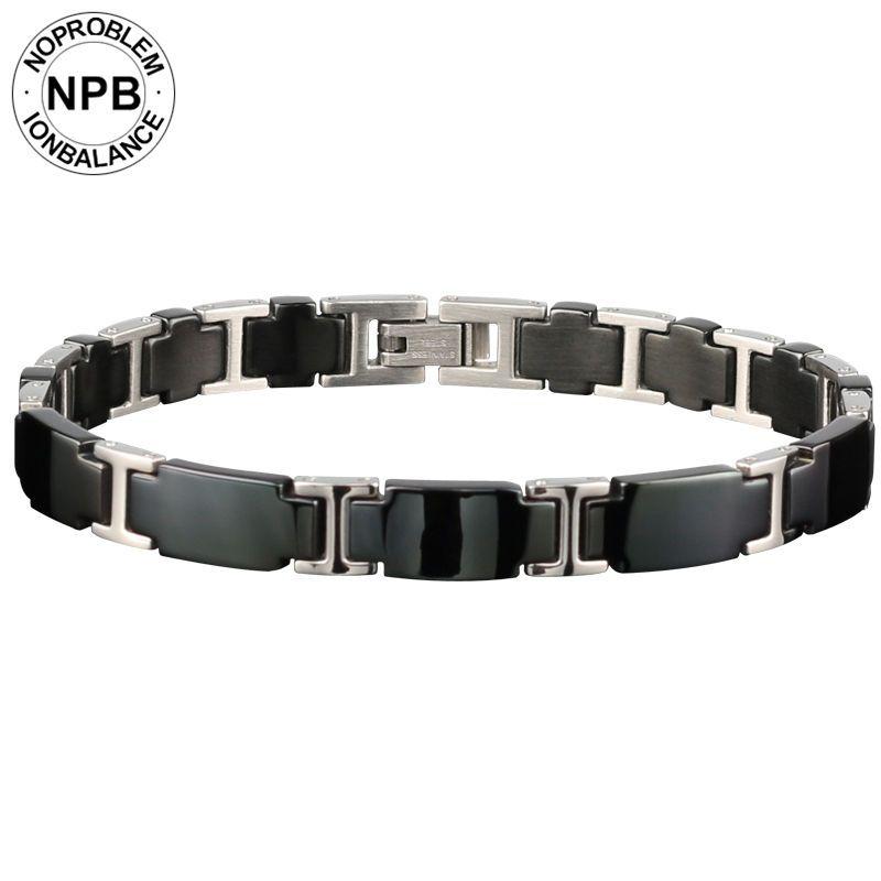 Noproblem 065 3000 ions balance perles en céramique thérapie de puissance choker punk fitness tourmaline germanium charmes bracelet pour hommes