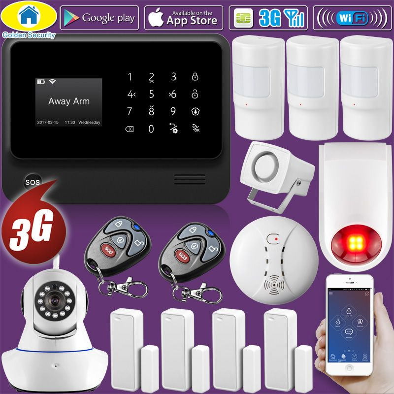 Golden Security DIY G90B Plus+ 3G GSM WIFI IOS Android APP Control Home Security Smart House Pet Immune Alarm System Fire Alarm
